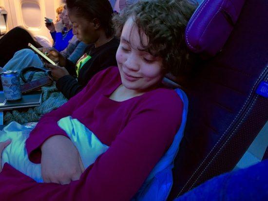 Long Haul Flight Essentials United Premium Plus Hayley Reclined with Blanket