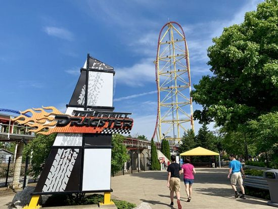 Cedar Point Top Thrill Dragster Tower and Sign