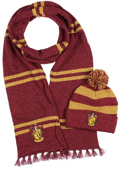 Harry Potter Hogwarts Houses Knit Scarf and Pom Beanie Set