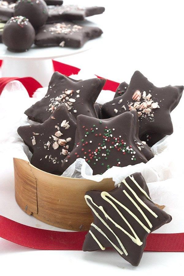 Chocolate-Peppermint-Stars Keto Christmas Cookies