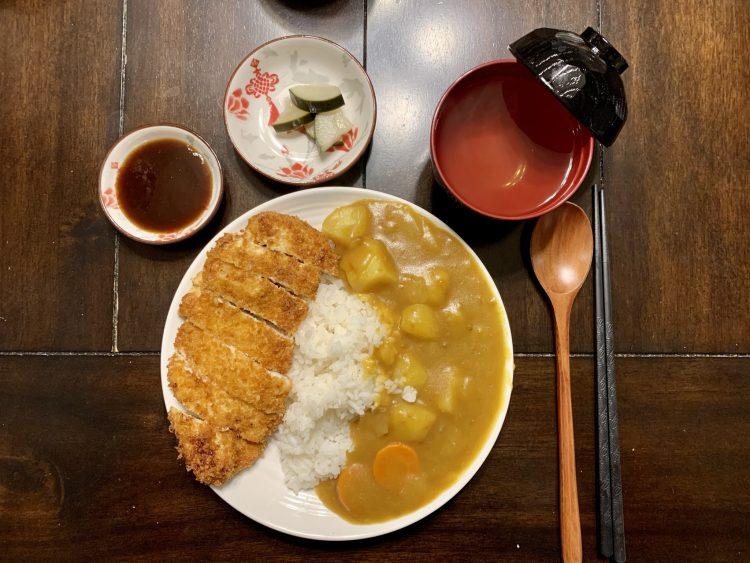 Chicken katsu, rice and curry