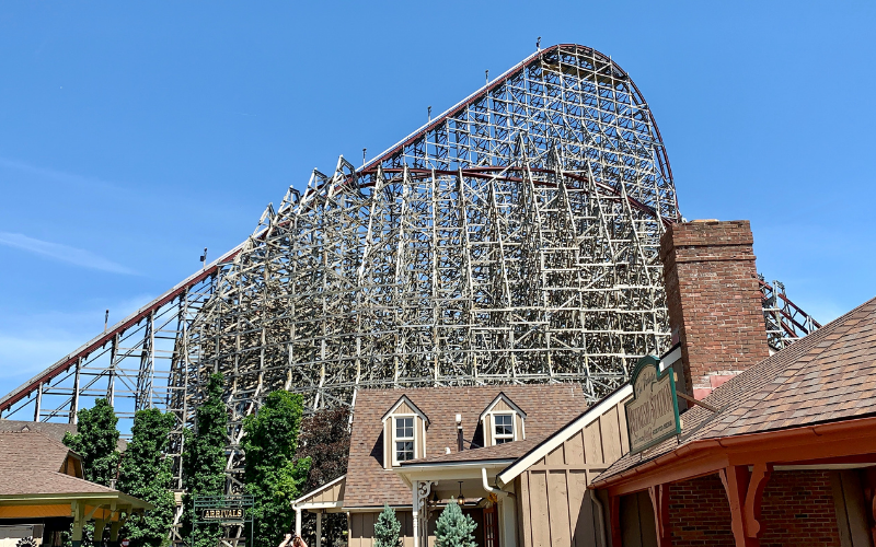 Lift hill and drop on Steel Vengeance roller coaster