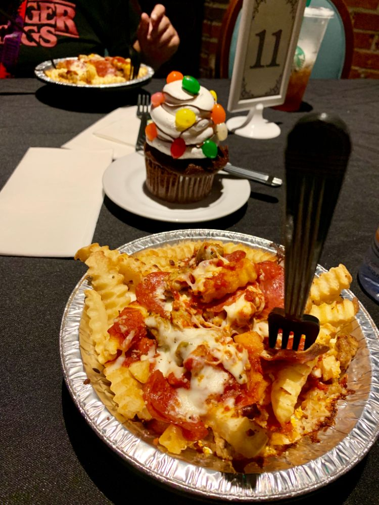 Halloween Horror Nights 2019 Food Pizza Fries and Cupcakes