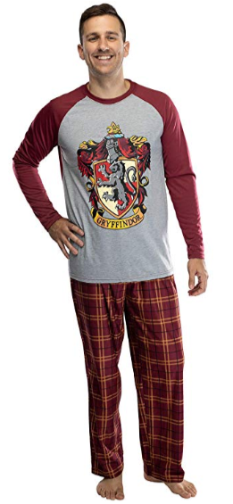 Harry Potter Adult Men's Raglan Shirt and Plaid Pants Pajama Set