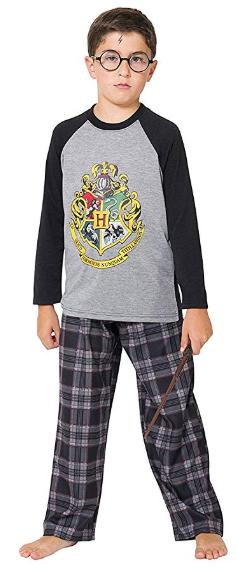 Harry Potter Big Boys Hogwarts School Crest Raglan Pajama Set