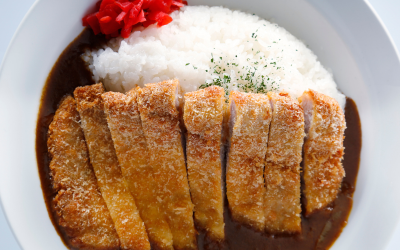 Japanese curry rice with chicken katsu and ginger