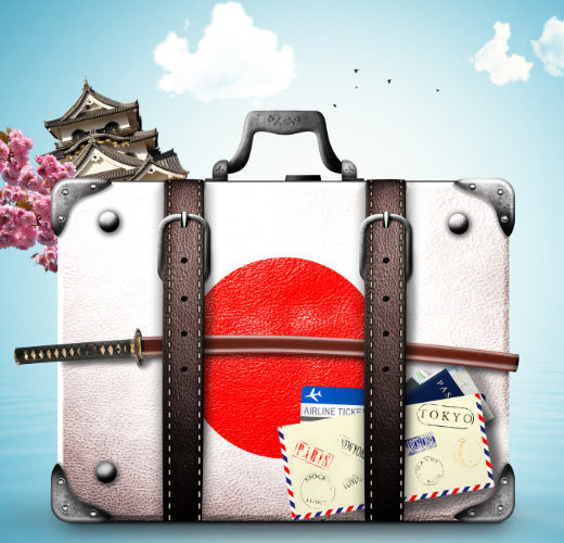 Suitcase packed to move to Japan