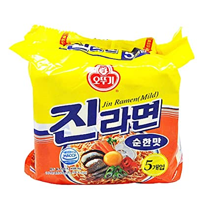 Ottogi mild Jin Ramen family pack instant noodles blue and yellow