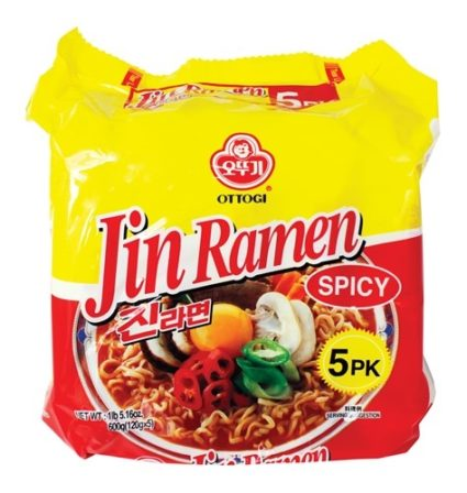 Ottogi spicy Jin Ramen family pack instant noodles red and yellow