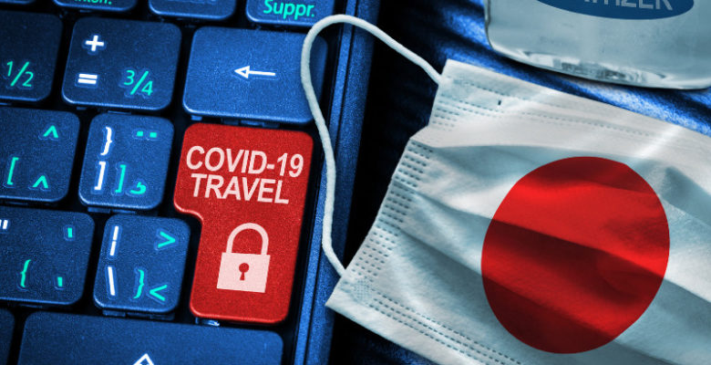 Japan flag face mask covid travel restrictions and quarantine