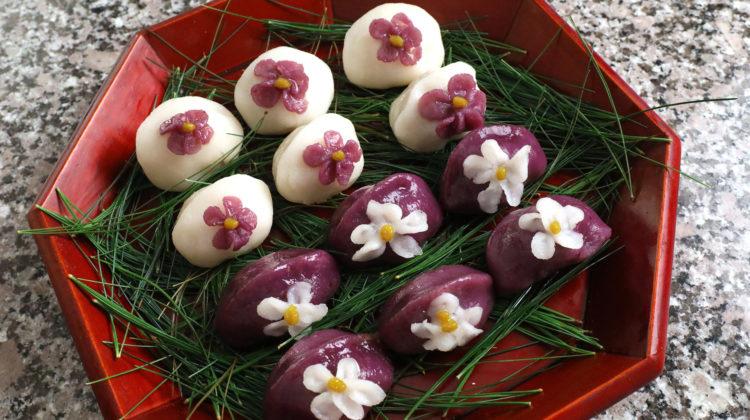 Plate of purple and white songpyeon Korean food