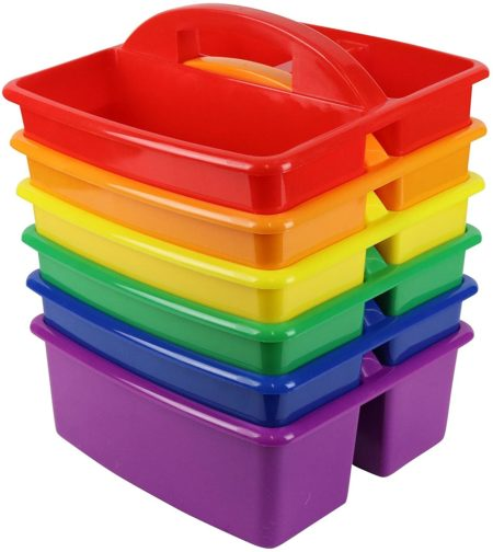 Colorful kids classroom caddies for school supplies