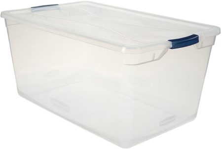 Clear plastic large storage tote bin with lid