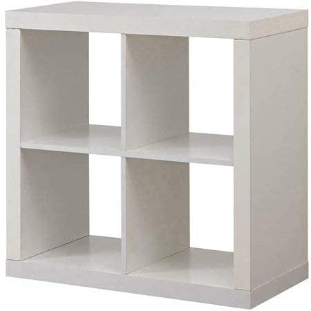 White cube organizer shelving unit with four cubes