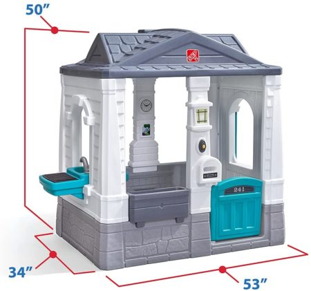 Step2 Playhouse grey white and blue pretend play for homeschool kids