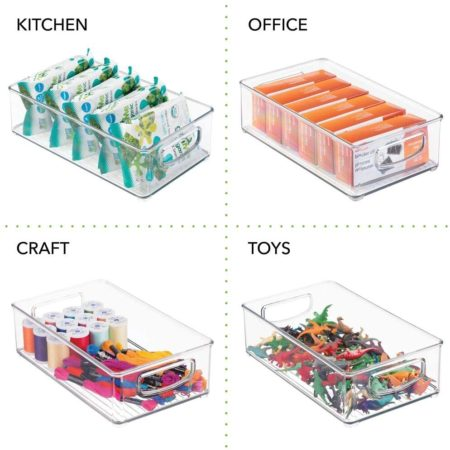 Clear stackable storage bins for kids homeschool supplies