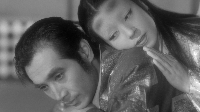 Man and woman black and white Japanese film Ugetsu