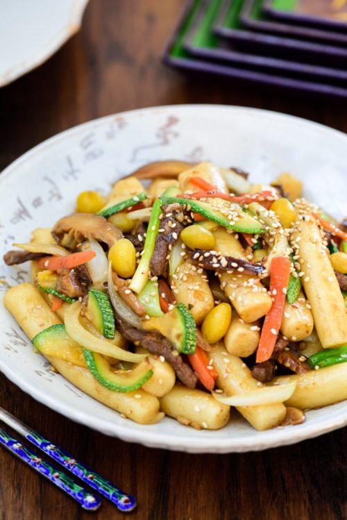 Korean Royal Court Rice Cakes gungjang tteokbokki on serving plate