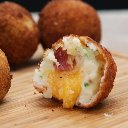 Loaded mashed potato cheese balls with bacon