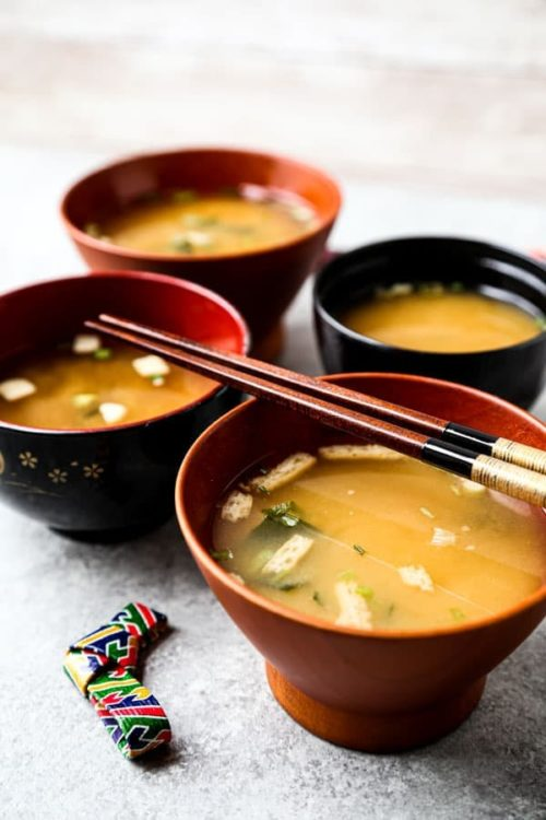 Four bowls of Japanese miso soup