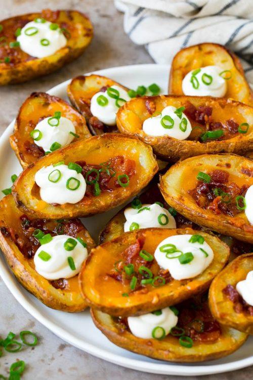 Platter of baked potato skins