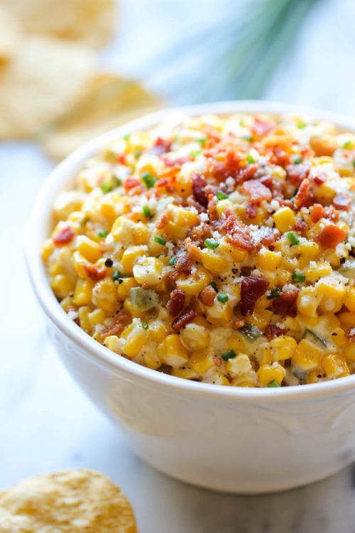Bowl of slow cooker corn and jalapeno dip