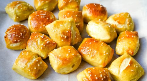 Plate of small soft pretzel bites appetizers for game day
