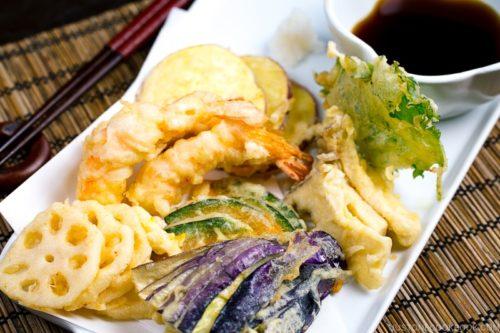 Plate of Japanese tempura appetizer